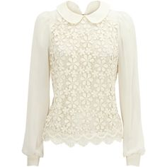 Lace Front Peter Pan Shell Top (175 BRL) ❤ liked on Polyvore featuring tops, blouses, shirts, blusas, women, sheer blouse, floral blouse, see through blouse, white sheer shirt and white lace shirt