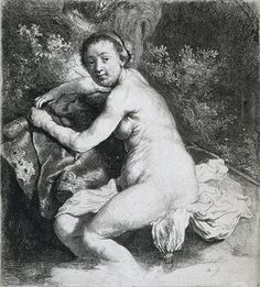 Diana at the Bath - Rembrandt van Rijn.  c. 1631.  Etching on paper.  17.7 x 15.9 cm.  Rijksmuseum, Amsterdam, Netherlands.