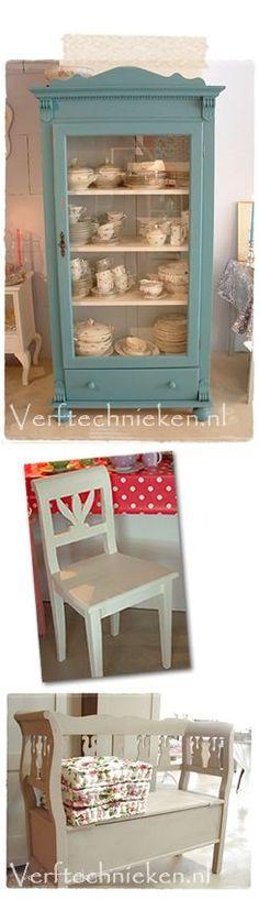 verftechnieken meubels pimpen Recycled Furniture, Refurbished Furniture, Vintage Furniture, Storage Shelves, China Cabinet, Recycling, Sweet Home, Home And Garden, Interior Design