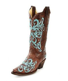 Corral Brown and Floral Tuquoise Stitched Dalhia Cowgirl Boots