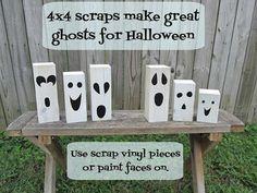 Pedaços de madeira pintados de branco com detalhes em preto fazem fantasminhas para decorar mesas ou recantos da casa.