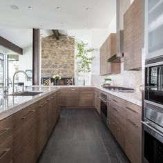 Galley Kitchen Design (Small, Unique, Modern Galley Kitchen Ideas) Domestic galley kitchen design permits plenty of woodwork to be put into a part of the kitchen, you can have a door or walkways at the finish of the run. galley kitchen d Galley Kitchen Design, Modern Kitchen Cabinets, Modern Kitchen Design, Contemporary Kitchen Designs, Contemporary Interior, Living Room Kitchen, Home Decor Kitchen, Kitchen Furniture, Kitchen Ideas
