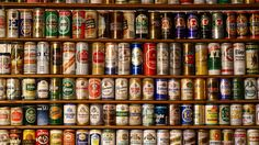 Cool display of collected beer cans. One of my many collections as a kid