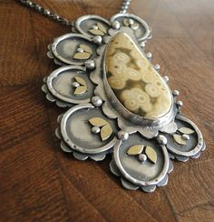 Ocean Jasper, Sterling Silver and Brass by Louise O'Dwyer, lovely composition.
