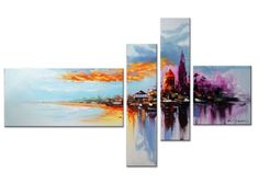 Abstract Cityscape on the Beach 4 Piece Original Painting on Canvas Set