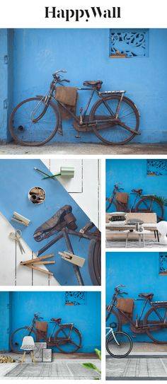 Indian Bicycle wall mural from Happywall #vintage #happywall #blue #wallpapers #leaning #wall #bold #wallpaper #house #wallmural #bright #india #bicycle #colorful #wallmurals