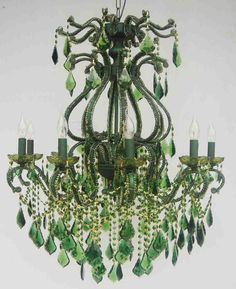The Cottage Market: Exquisite Emerald Green chandelier Green Chandeliers, Designer Chandeliers, Laurel, Style Deco, Green Rooms, Color Of The Year, Beautiful Lights, Chandelier Lighting, Chandelier Tree