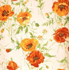 植物イラスト ポピー柄で白い背景のパターン