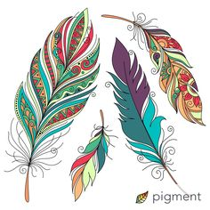 Just colored this in Pigment! Feather Drawing, Feather Painting, Feather Art, Fabric Painting, Stone Painting, Watercolor Paintings, Tattoo Indien, Simple Flower Drawing, African Art Paintings