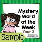 Mystery Word of the Week Year 2 - 1 free week!! Perfect as a quick and easy way to improve vocabulary.