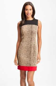 Calvin Klein Mixed Media Colorblock Sheath Dress available at #Nordstrom  slenderizing? $78 sale - spandex dry clean