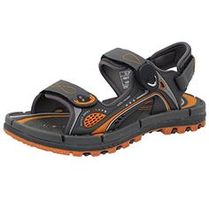 GP9155 Men Women Easy Snap Lock (Magnetic closure) Outdoor/Water Sandals, Water Release Sole, Grey Orange, EU37 >>> Check this awesome product by going to the link at the image.