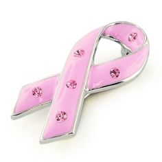 $14.99 This pink ribbon is a widely known symbol for breast cancer awareness. What better way to show your support for the cause then this pink enamel ribbon pin. This pink ribbon features a glossy pink enamel coating with six pink rhinestones. Perfect for a rally. Share it with a friend, spread the word. Get your Pink Ribbon Pin today!