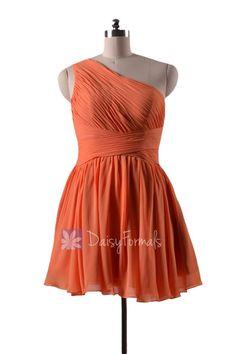 In stock,Ready to Ship - Mini Length One Shoulder Chiffon Bridesmaid Dress (BM351N)- (#22 Orange)