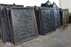 Antique Iron Firebacks :: a wonderful alternative to tile for application over the kitchen range or mounted on the hood above. Rustic Backsplash, Blue Backsplash, Beadboard Backsplash, Kitchen Backsplash, Behind Stove Backsplash, Travertine Backsplash, Mirror Backsplash, Herringbone Backsplash, Wood Countertops