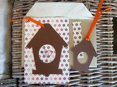 """carte """"le grand jour"""" oiseau orange avec son enveloppe et son tag nichoir - bylfdp : Cartes par faire-parts-absolument-bylfdp"""