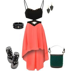 coral with studded black
