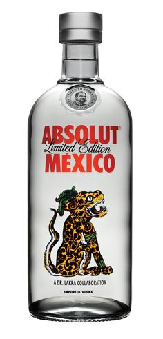 "Absolut Mexico design. Limited edition. In collaboration with Oaxacan (Mexico) visual artist ""Dr. Lakra""."