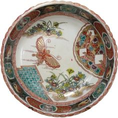 Antique Japanese Imari (Large) Porcelain Bowl Beautiful with Butterfly