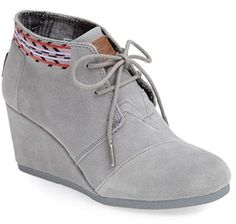 $88, Grey Suede Wedge Ankle Boots: Toms Desert Suede Wedge Bootie. Sold by Nordstrom. Click for more info: http://lookastic.com/women/shop_items/87086/redirect