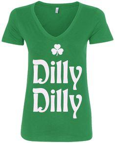 006a6a68e5d41 Dilly Dilly St. Patrick s Day Women s V-Neck T-Shirt Irish Beer Shamrock