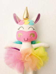Items similar to Unicorn doll - fabric doll - baby gift - rainbow unicorn - girls room decor - girls toy - rainbow baby - rainbow doll - unicorn - plush on EtsyUnicorn teddy makeTips And Techniques For fabric dolls Felt Crafts, Diy And Crafts, Crafts For Kids, Unicorn Birthday, Unicorn Party, Cadeau Surprise, Craft Projects, Sewing Projects, Unicorn Crafts