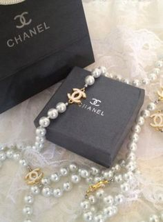 Designer Gold CC Long White Pearl Necklace