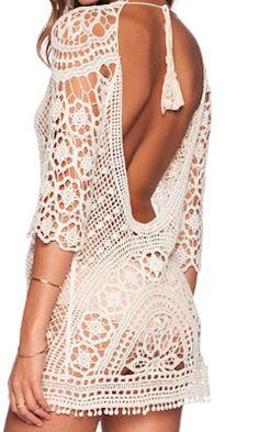Open back lace dress.