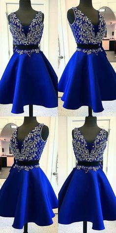 royal blue beading two pieces homecoming dress~