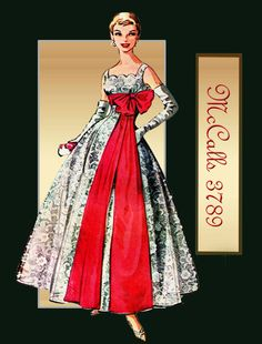 1950s Dress and Evening Gown Pattern Vintage McCalls 3789 Unused Factory Folded