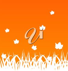 iCLIPART - Clip Art Illustration of an Autumn Background with Maple Leaves and Grass #clipart #illustration #fall #season