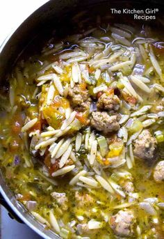 Italian Sausage Orzo Soup for Instant Pot or Stove Italian soup in 30 minutes for Instant Pot or stove! Comfort food with pork sausage, everyday vegetables, whole wheat orzo, and chicken broth Italian Sausag Italian Sausage Soup, Recipe With Italian Sausage, Italian Orzo Spinach Soup, Italian Sausages, Italian Sausage Recipes, Do It Yourself Food, Orzo Recipes, Lentil Recipes, Noodle Recipes