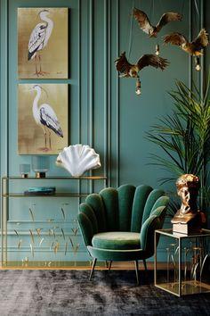 €349 | Water Lily Dark Green fauteuil, trendy fauteuil uit de eigenzinnige collectie van Kare Design. De stijlvolle woonaccessoires en meubels van dit unieke merk zijn echte eyecatchers en geven uw interieur extra karakter! Afmeting: (hxbxd) 73x85x78 cm. Kare Design, Casa Art Deco, Furniture Cleaner, Estilo Art Deco, Console, Gold Wood, Canvas Pictures, New Furniture, Green And Gold