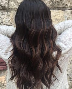"""Dark roast"" espresso coffee brunette hair color by Aveda Artist Kianna Dowd."