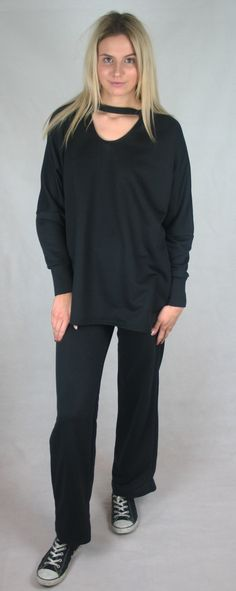 Black choker jumper super comfy for a day relaxing or pair with jeans for a day time look! Check out our loungewear range at touche.boutique all garments handmade using only locally sourced fabrics and trims!