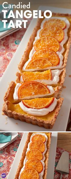 Candied Tangelo Tart Recipe - A treat that's just as lovely to look at as it is to eat, this Candied Tangelo Tart is a light and refreshing dessert that will perfectly complement any summertime meal. Layers of candied orange slices lay a top a cloud of meringue filling, making this dessert light and crisp, as well as zesty and sweet! This recipe can also be made with other types of oranges, including tangerines and blood oranges, depending on availability.