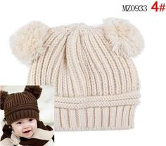 97e08aa12e8 Winter knitted Newborn baby girl   boy Cap Infant toddler Beanie Cute warm  hat suit for 6-18 months