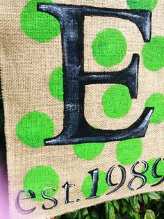 Lime Green Polka Dots Established Burlap Garden Flag with Monongram on Etsy, $20.00