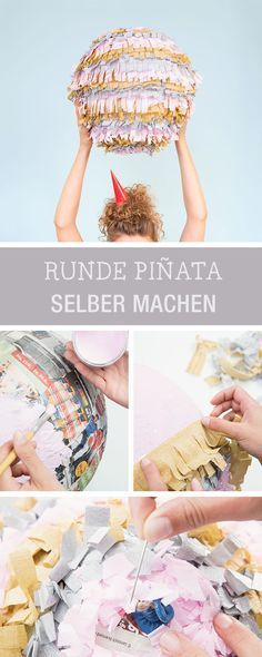 DIY für eine bunte runde Pinata aus Krepppapier, Partydeko selbermachen / craft party decoration: how to make a pinata via DaWanda.com