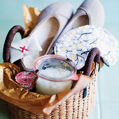 How-to on putting together an ultimate spa gift basket. Includes recipe bath scrub, how to make a lavender sachet, how to make a travel candle and more.