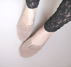 Blush Nude Soft Suede Handmade Oxford Shoes