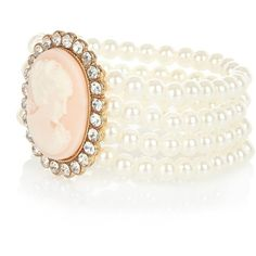 River Island Cream Pearl Cameo Bracelet ($13) ❤ liked on Polyvore featuring jewelry, bracelets, accessories, pearl, rings, white pearl bracelet, bracelet bangle, river island, pearl jewellery and pearl bracelet
