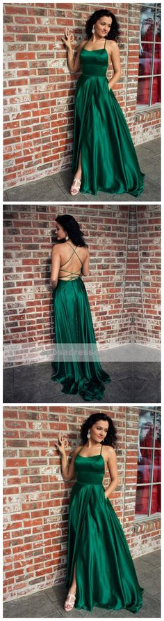 Sexy Emerald Green Halter Backless Side Slit Long Evening Prom Dresses, 17508