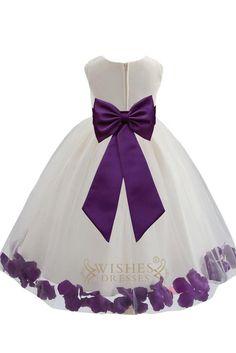 Cute Purple Detail Flower Girl Dresses Am224