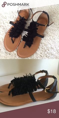Fringe sandals Perfect for summer! They're a black sandal with black fringe running down the center. They have straps across the middle of the foot and around the ankle. Worn once. Old Navy Shoes Sandals