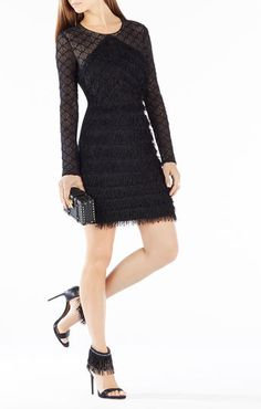 Velma Long-Sleeve Fringe Dress