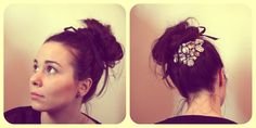 Messy bun with gem necklace.