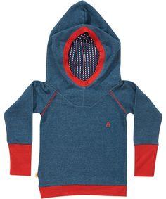 Albababy gorgeous denim blue hoodie with printed hood. albababy.en.emilea.be