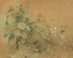 Garden plot with large and small sunflowers, hollyhocks and other flowers (1899) by Paul Baum (1859–1932).