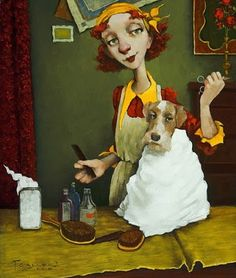 A SAD DAY FOR BUTTERCUP (wire-hair fox) by Fred Calleri (b1964 Towson, MD; since 2001 based In Flagstaff, AZ)